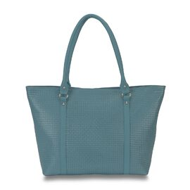 100% Genuine Leather Weave Pattern RFID Protected Hand Bag (Size 43x28.5x8 Cm) - Teal