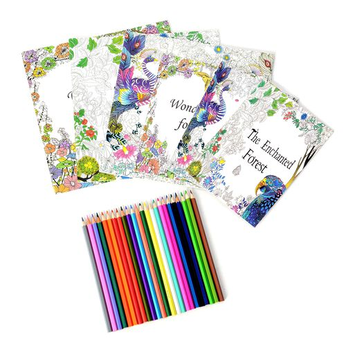 Set of 6 - Colouring Books and 1 Box Crayons including 24 pcs Coloured Pencils