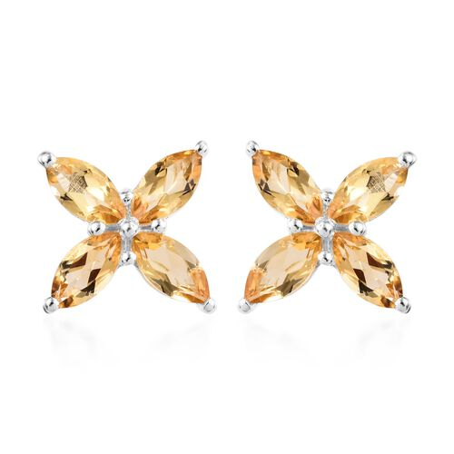 Citrine (Mrq) Stud Earrings (with Push Back) in Sterling Silver 5.000 Ct.