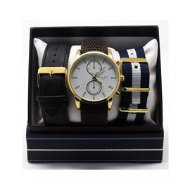 Thomas Calvi White Dial Mens Quartz Watch Gift Set with Interchangeable Straps in Gold Tone