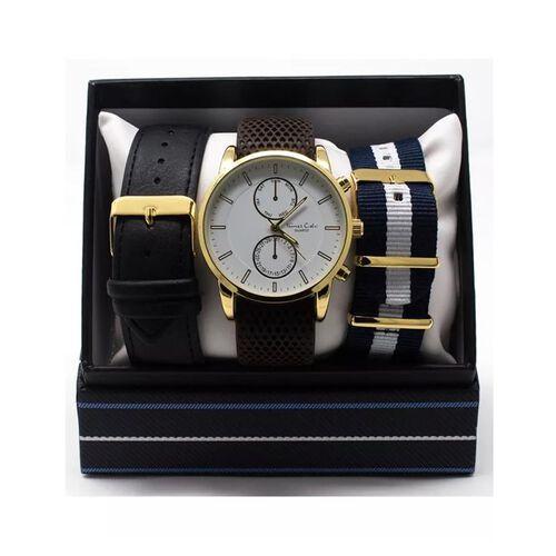 Thomas Calvi White Dial Mens Quartz Watch Gift Set with Interchangeable Straps in Gold Tone