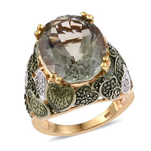 Green Amethyst (Ovl), Diamond Ring in 14K Gold Overlay Sterling Silver 15.500 Ct. Silver wt 11.10 Gms.