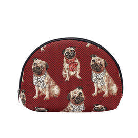 Signare Tapestry - Pug Design Big Cosmetic Bag (24.5x16x7 Cm) - Red