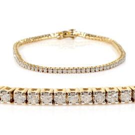 14K Yellow Gold EGL Certified Diamond (Rnd) (I1-I2/G-H) Tennis Bracelet (Size 7.25) 2.07 Ct, Gold wt