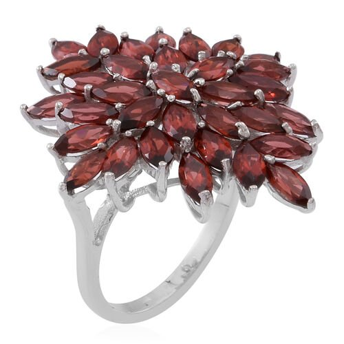 Mozambique Garnet (Mrq) Cluster Ring in Rhodium Plated Sterling Silver 10.000 Ct.
