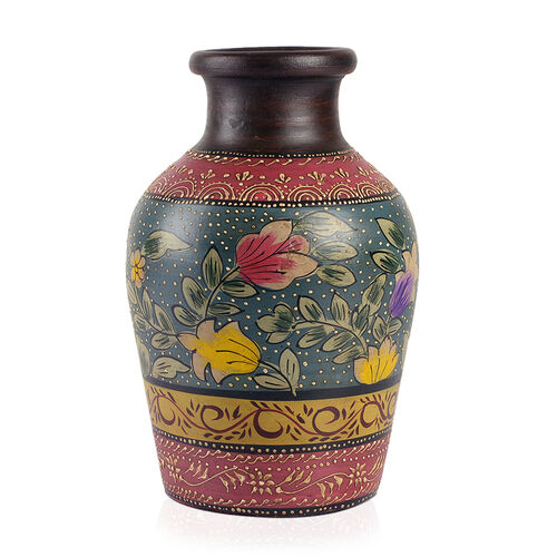 Limited Edition - Designer Inspired Hand Painted Floral Terracotta Vase Purple, Teal and Multi Colour