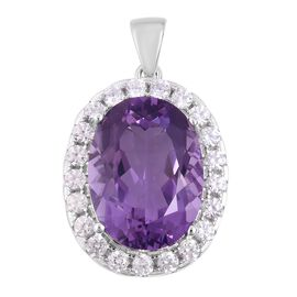 Rose De France Amethyst (Ovl 9.00 Ct), Natural White Cambodian Zircon Pendant in Rhodium Overlay Sterling Silver 10.750 Ct.