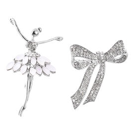 2 Piece Set White Austrian Crystal Ballerina and Bowknot Brooch in Silver Tone