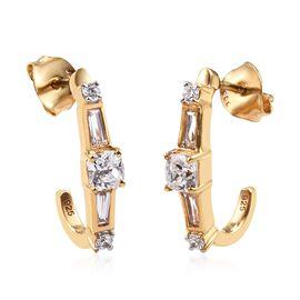 J Francis SWAROVSKI ZIRCONIA Hoop Earrings in Gold Plated Silver
