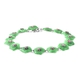 Carved Green Jade and Multi Sapphire Floral Bracelet (Size 7.75) in Rhodium Overlay Sterling Silver 49.80 Ct, Silver wt 6.11 Gms