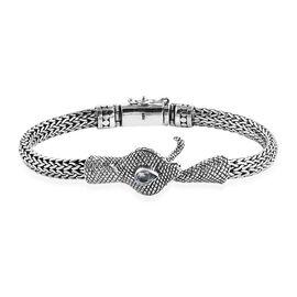Royal Bali Collection Sky Blue Topaz (Pear) Tulang Naga Bracelet (Size 6.5) in Sterling Silver. Silv