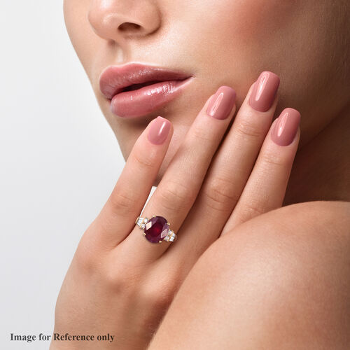 African Ruby and Natural Cambodian Zircon Ring in 14K Gold Overlay Sterling Silver 8.00 Ct.