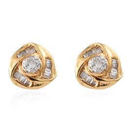 Diamond (Rnd) Knot Earrings in 14K Gold Overlay Sterling Silver