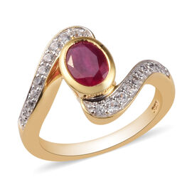 1.25 Ct African Ruby and Cambodian Zircon Bypass Ring in 14K Gold Plated Sterling Silver