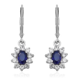 JCK Vegas 2.30 Ct Blue Spinel and Zircon Halo Drop Earrings in Rhodium Plated Sterling Silver