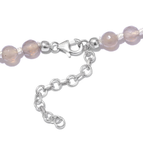 Grey Quartzite Ball Beads Graduated Necklace (Size 18 with 1.5 Inch Extension) in Platinum Overlay Sterling Silver 213.750 Ct.