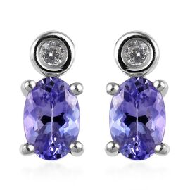1 Carat Tanzanite and Zircon Drop Earrings in Platinum Plated Sterling Silver