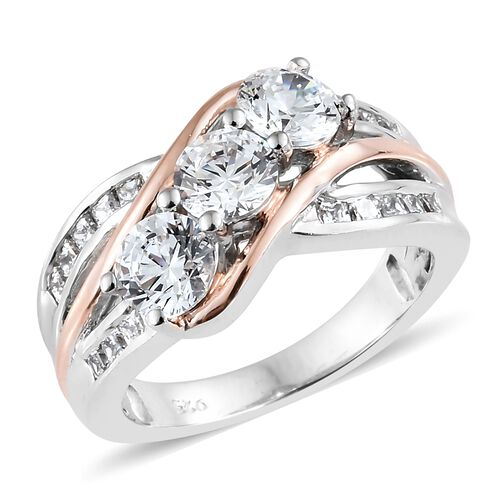 J Francis - Rose Gold and Platinum Overlay Sterling Silver (Rnd and Sqr)  Ring Made with SWAROVSKI ZIRCONIA