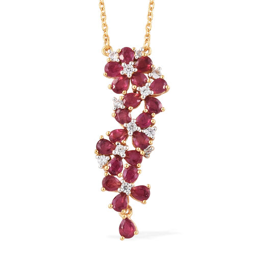 African Ruby (Pear), Natural Cambodian Zircon Floral Pendant with Chain (Size 18) in 14K Gold Overla