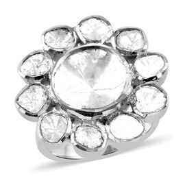 Artisan Crafted Polki Diamond Floral Ring in Sterling Silver 0.70 Ct.