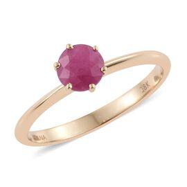 ILIANA 1 Carat AAA Burmese Ruby Solitaire Ring in 18K Gold 2.26 Grams