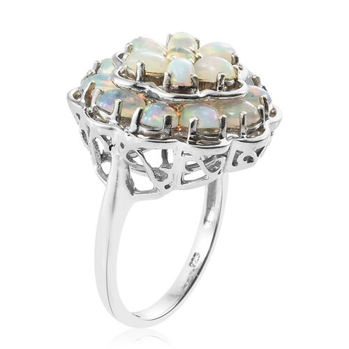 Ethiopian Welo Opal (Ovl) Floral Ring in Platinum Overlay Sterling Silver 4.000 Ct. Silver wt 7.48 Gms.