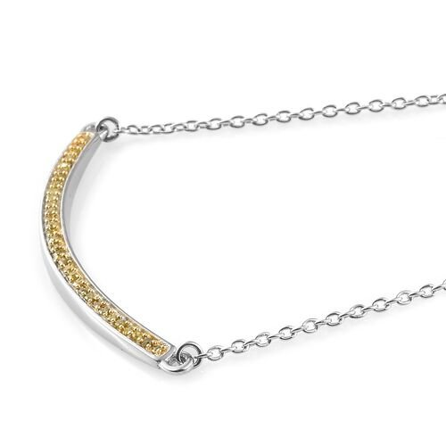 Yellow  Diamond (Rnd) Necklace with Chain (Size 18)  in Platinum and Gold Overlay Sterling Silver 0.200 Ct.