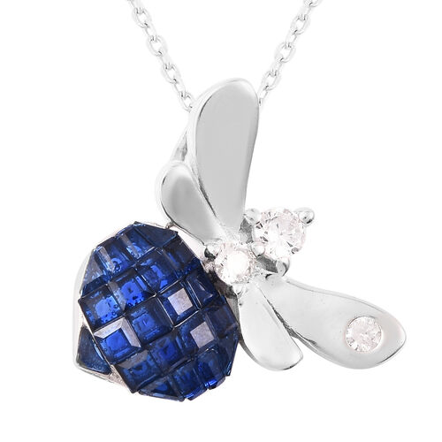 Lustro Stella - Mystery Setting Simulated Blue Sapphire and Simulated Diamond Dragonfly Pendant with
