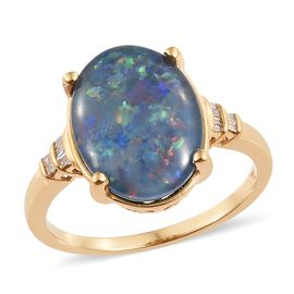 Australian Boulder Opal (Ovl), Diamond Ring in 14K Gold Overlay Sterling Silver