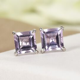 Rose De France Amethyst Stud Earrings (with Push Back) in Platinum Overlay Sterling Silver 2.210 Ct.