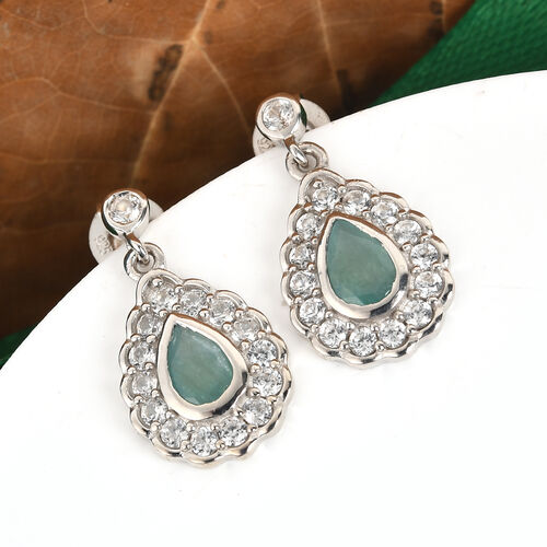Grandidierite and Natural Cambdoian Zircon Earrings (with Push Back) in Platinum Overlay Sterling Silver 1.67Ct.