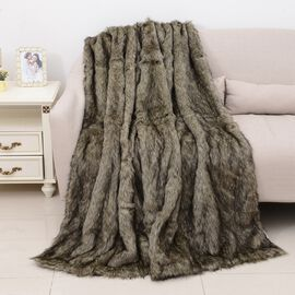 One Time Close Out Deal Deluxe Faux Fur Blanket - Grey Wolf (Size 200x150 Cm)