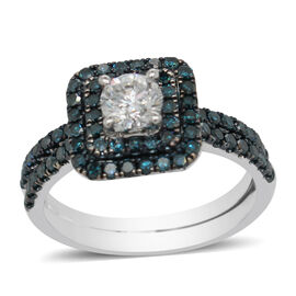 Set of 2 - 14K White Gold Blue Diamond and White Diamond (SI-I1/G-H) Ring 1.24 Ct.