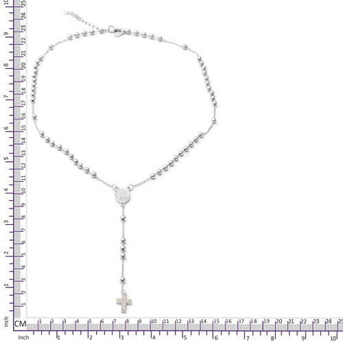 ELANZA Simulated Diamond (Rnd) Adjustable Necklace (Size 16.5 with 1.5 inch Extender) in Rhodium Overlay Sterling Silver, Silver wt 6.96 Gms