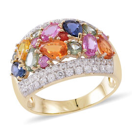 Cocktail Collection- 9K Yellow Gold AAA Rainbow Sapphire and Natural White Cambodian Zircon Ring 4.350 Ct.