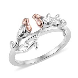 Rose Gold and Platinum Overlay Sterling Silver Love Bird Ring