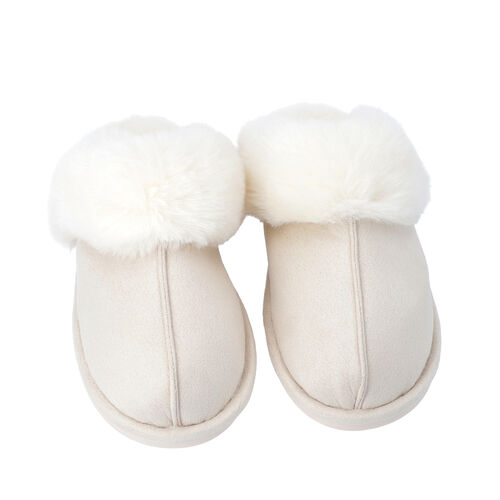 Super Soft Suede Home Slippers with Faux Fur (Size M: 5-6) - Ivory