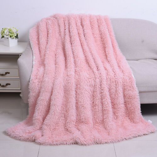 Supersoft High Quality Faux Fur Sherpa Blanket (150x200cm) - Pink