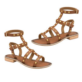 Ravel Parkes Leather Strappy Sandals in Tan Colour