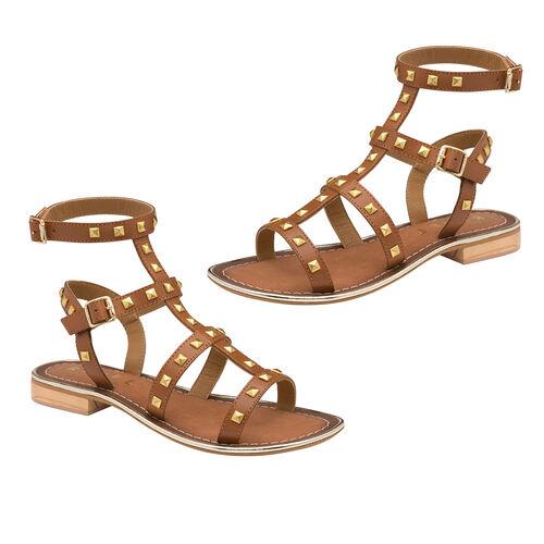 Ravel Parkes Leather Strappy Sandals (Size 3) - Tan