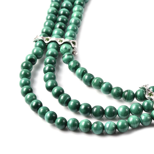 Malachite and Russian Diopside Three-Layer Necklace (Size 20 with Extension) in Rhodium Overlay Sterling Silver 558.99 Ct.