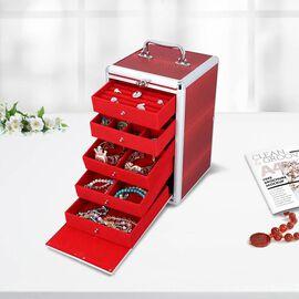 Five Tier Anti-Tarnish Dragon Skin Pattern Jewellery Box with Lock and Handle - Wine Red