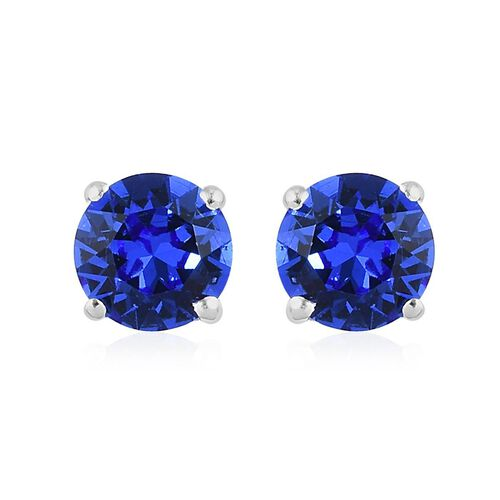 J Francis - Crystal from Swarovski Sapphire Crystal Stud Earrings (with Push Back) in Sterling Silve