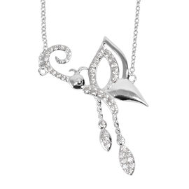 ELANZA Simulated Diamond Necklace in Rhodium Plated Sterling Silver 18 Inch