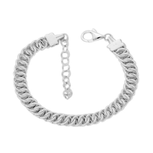 Vicenza Collection Sterling Silver Fancy Curb Bracelet (Size 7 with 1.5 inch Extender), Silver wt.14.06 Gms.