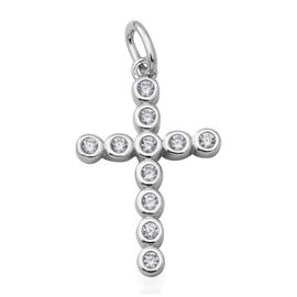 ELANZA Simulated Diamond Holy Cross Pendant in Rhodium Overlay Sterling Silver