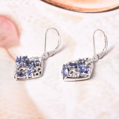 RACHEL GALLEY Misto Collection - Tanzanite Lattice Lever Back Earrings in Rhodium Overlay Sterling Silver 2.23 Ct.