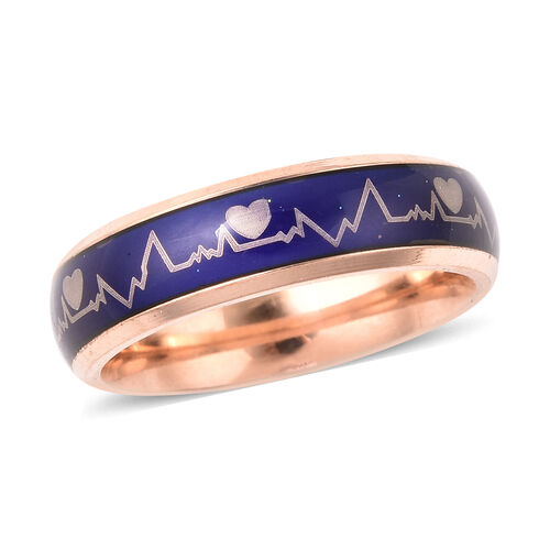 New Concept Mood Band Ring Heartbeats Design in Rose Gold Tone