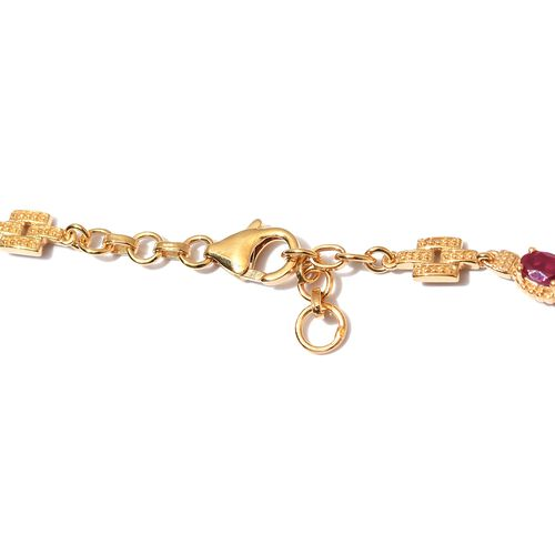 African Ruby Necklace (Size 18) in 14K Gold Overlay Sterling Silver 10.65 Ct.