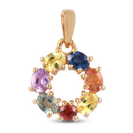 Rainbow Sapphire Circle Pendant in 14K Gold Overlay Sterling Silver 1.49 Ct.